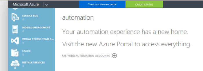 Azure automation state in Azure Classic Portal
