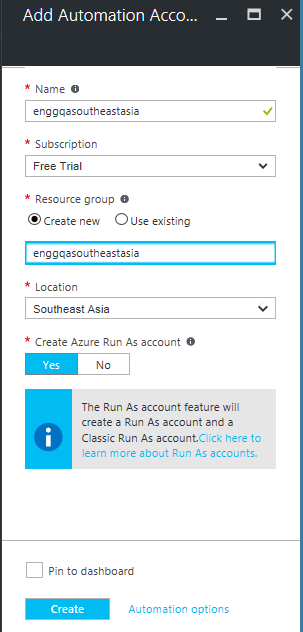 Create Azure Automation account using GUI
