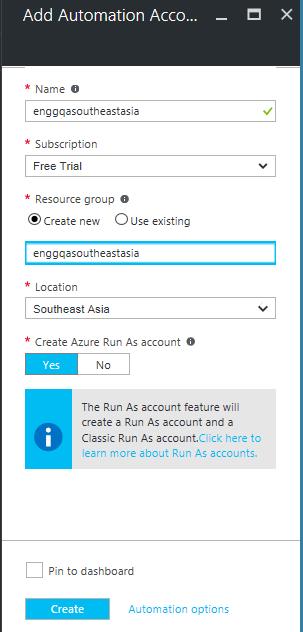 Create Azure Automation account using GUI