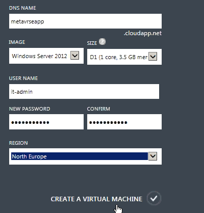 Provide details for quick vm