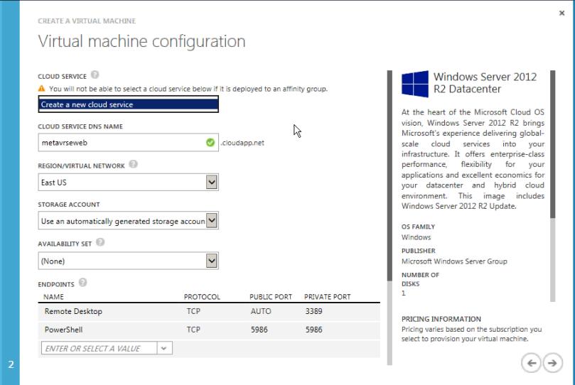 Provide details for VM configuration