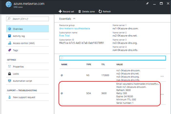 SOA record for Azure DNS zone