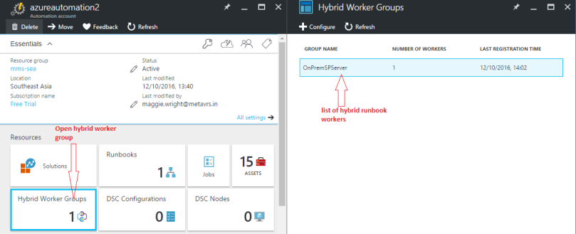 Access hybrid worker groups in the automation account