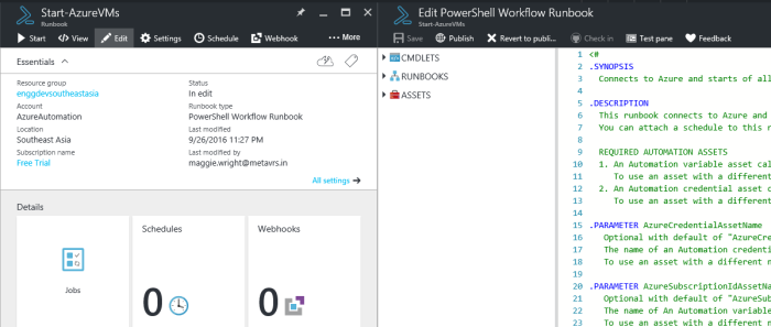 editing runbook Start-AzureVMs