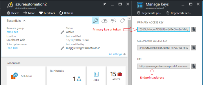 Endpoint address and primary access key for azure automation account