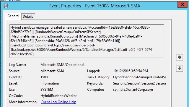 Event log indicating to start sandbox creation