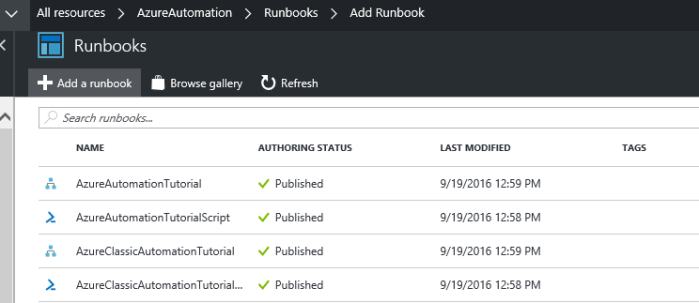 existing runbooks in the azure automation account