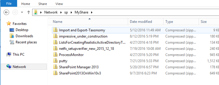 Source files in file share on local server