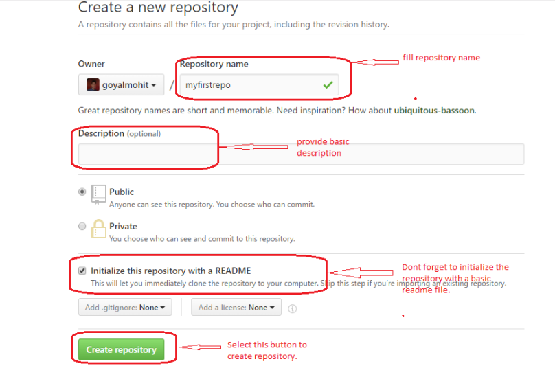 fill in basic details for new repository