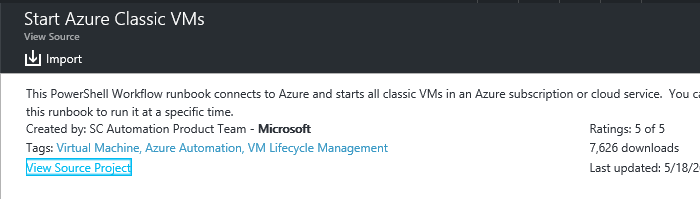 import runbook to use for starting azure virtual machines
