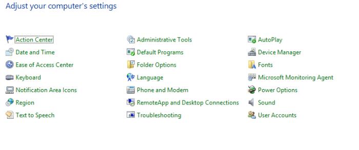Microsoft management suite location in control panel