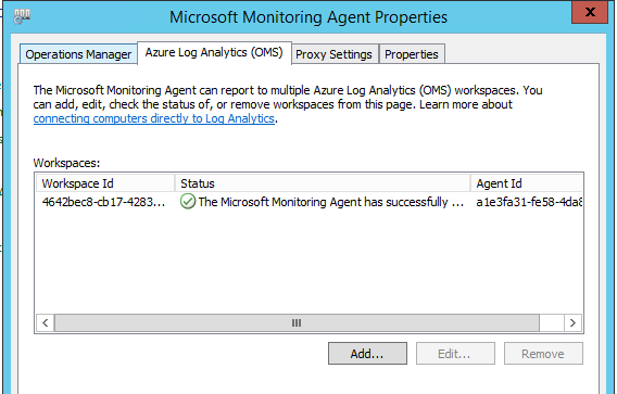 Microsoft monitoring agent properties
