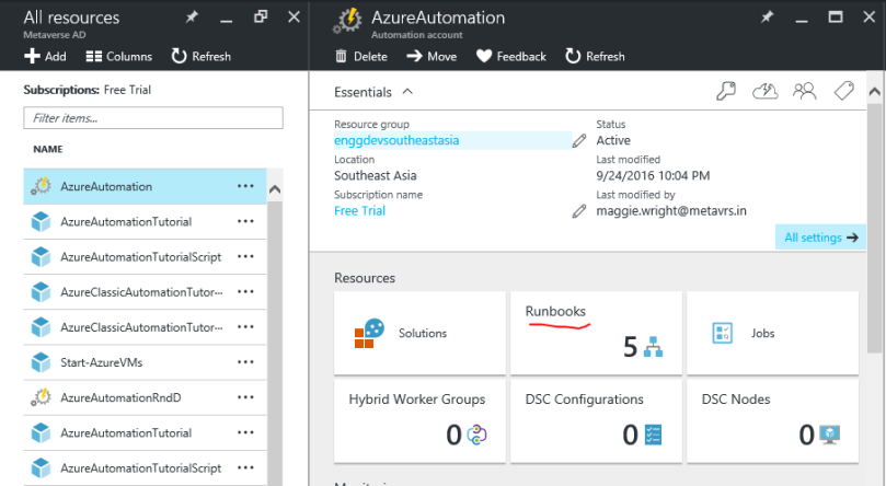 azure automation account properties