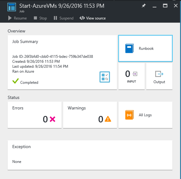 Status of the job for azure automation runbook
