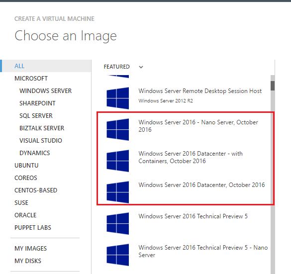 windows server 2016 images in azure gallery