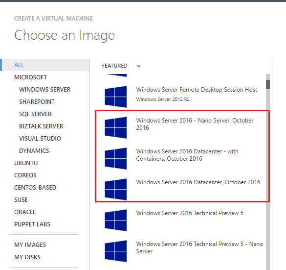windows server 2016 images in azure gallery