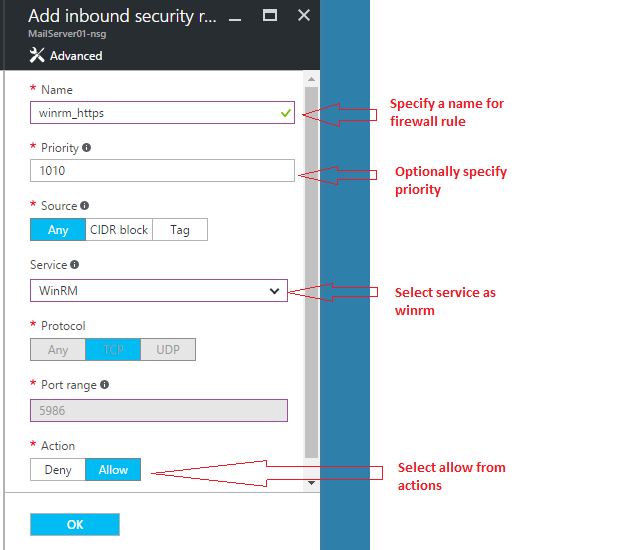 Add new inbound security rule for winrm over https