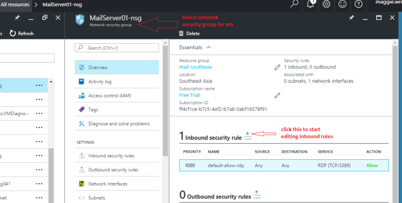 Open network security group for azure rm vm