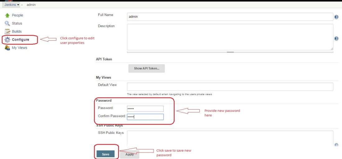 Change password for default user