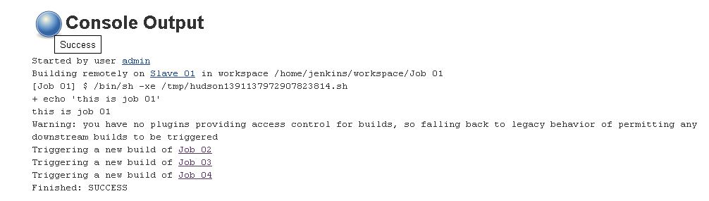 Job 01 build output after configuring upstream for job 02, job 03 and job 04.JPG