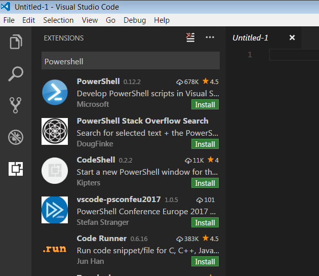 Select and install PowerShell Extension