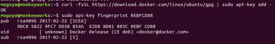 add docker GPG key and verify