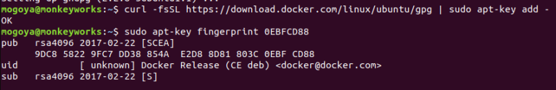 add docker GPG key and verify