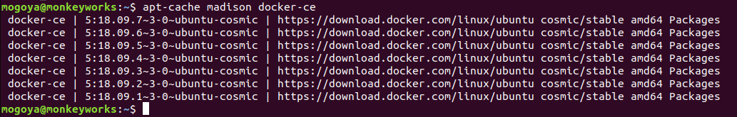 check docker versions available