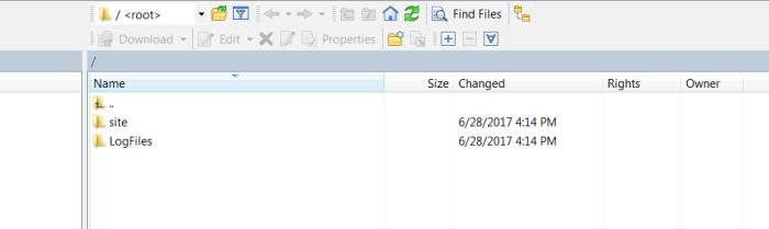 Default directory contents after establishing connection