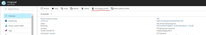Download publish profile from web app overview