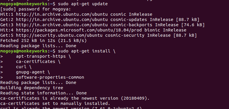install basic pre-requisites