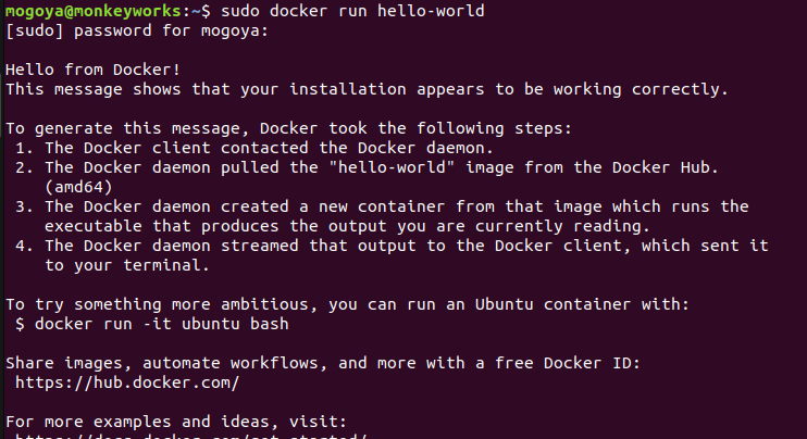 run a hello-world image from docker