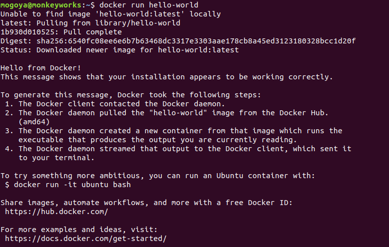 run the hello-world image using docker