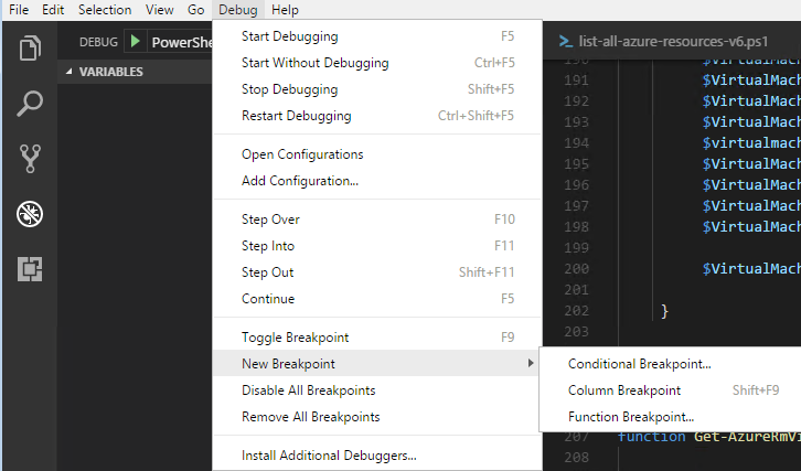 Select conditional breakpoint from Debug Options