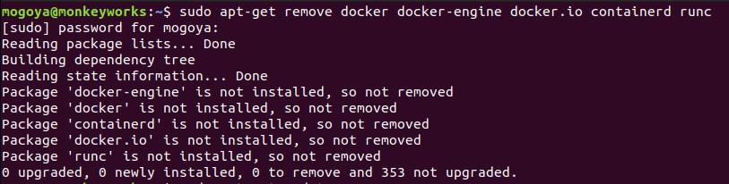 uninstall previous versions of docker