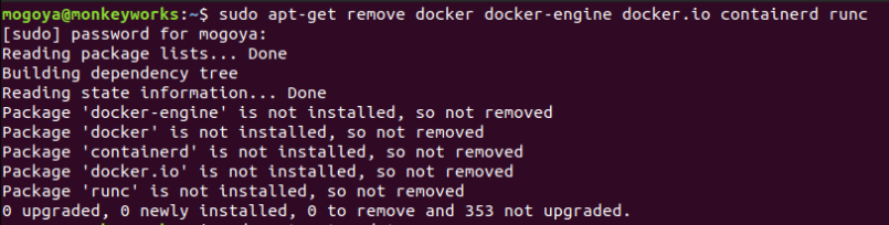 uninstall previous versions of docker