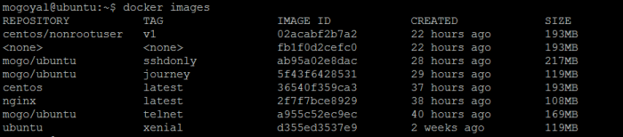 List docker images on the machine