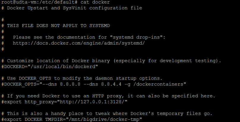 Modified docker configuration file