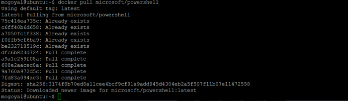 Pulling PowerShell core image