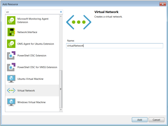 Add a Virtual network resource from list of resources