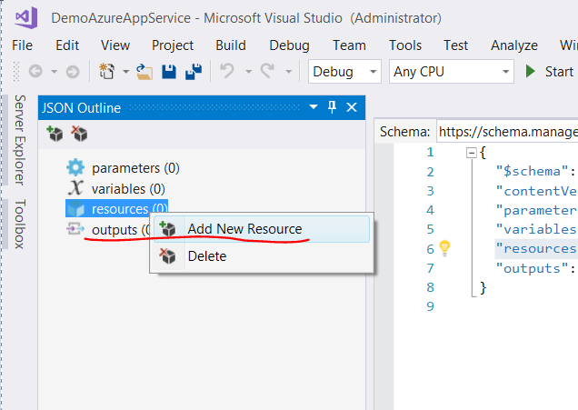 Add new resource in JSON Outline window