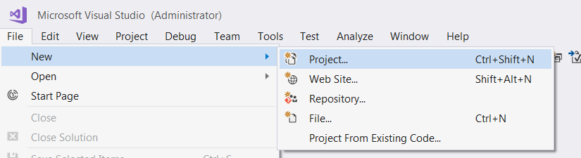 create a new project in visual studio