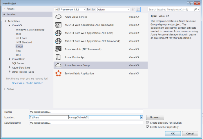 Create new project as Azure Resource Group type project