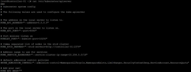 Edit kubeapiserver config file