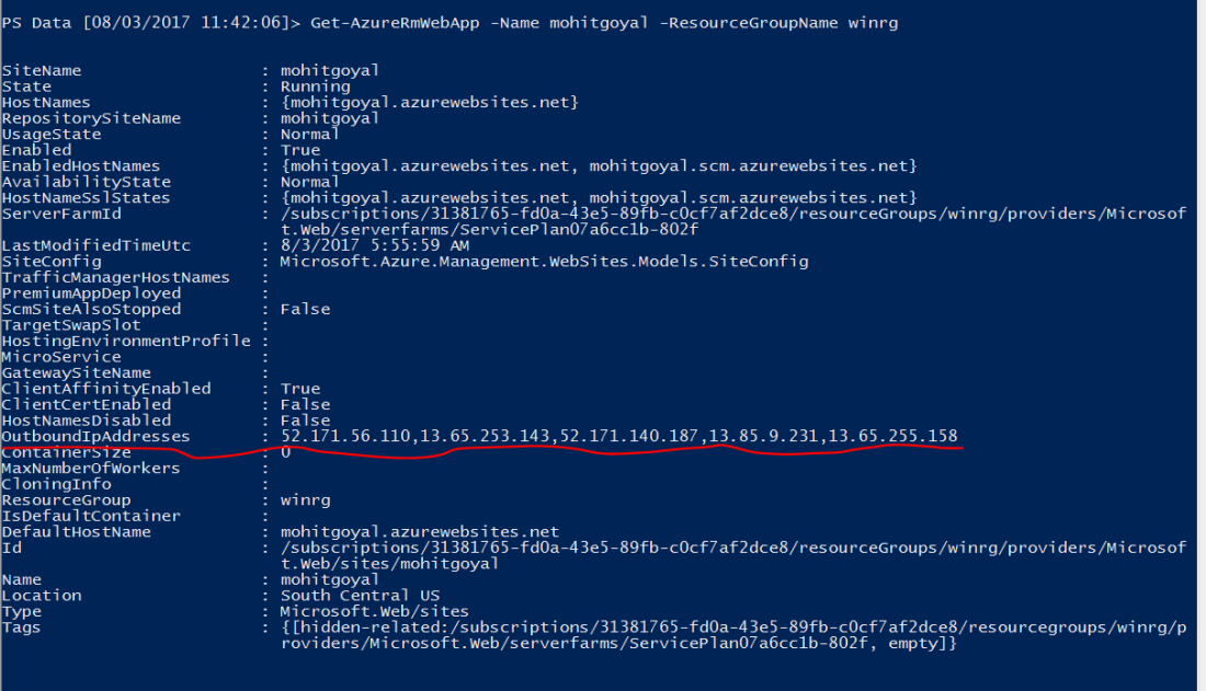 Getting Outbound IP Address using Azure PowerShell