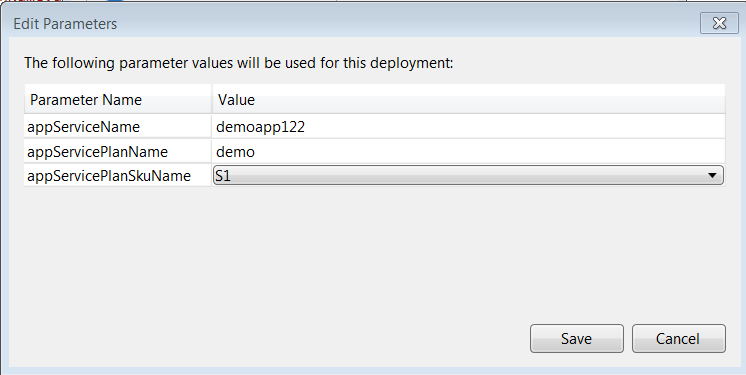 Provide values for the parameters defined