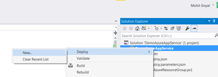 Right click project name and then select deploy, new