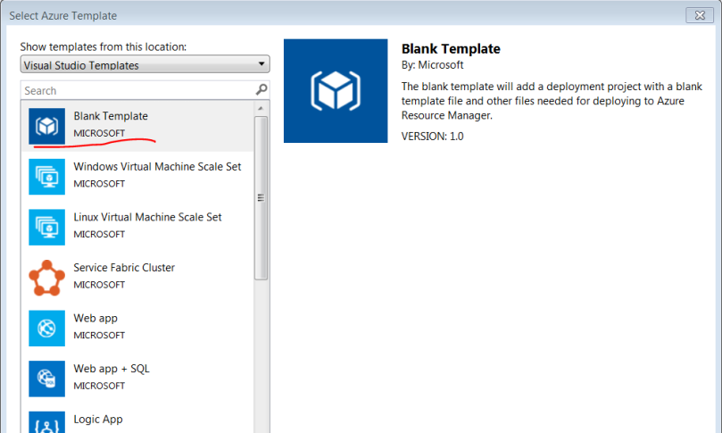 Select blank template to start project