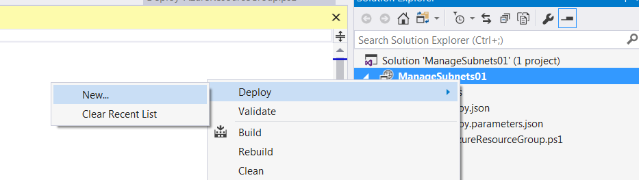 Select deploy and new after right clicking project