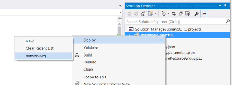 Select deploy and previous deployment name after right clicking project